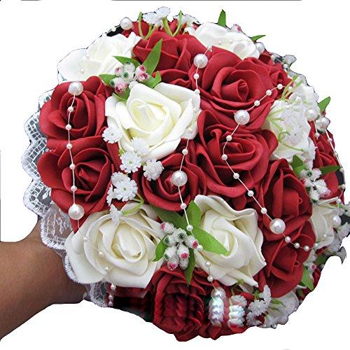 xiangshang shangmao Neue Hochzeit Brautstrauß Wein Rot Rosen Perle Babysbreath Blumenstrauß
