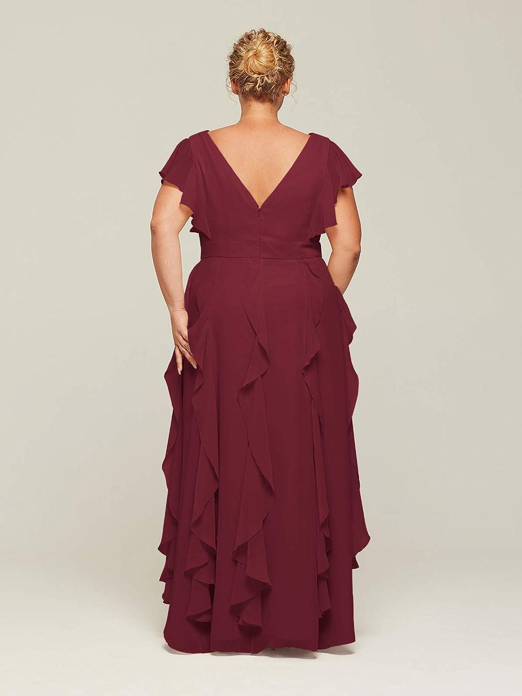 ALICEPUB Ruffled Chiffon Bridesmaid Dresses with Sleeves Long Formal Party Dress for Women Wedding
