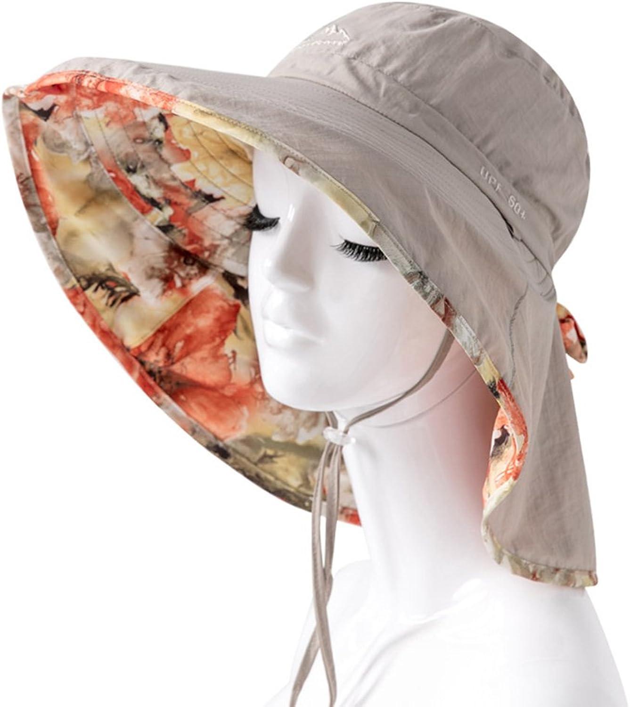 LBY Sunscreen Cover Face Travel Wild Vacation Outdoor Summer Beach Big Edge UV Predection Sun Hat Sun Hats (color   Khaki, Size   5558  13cm)