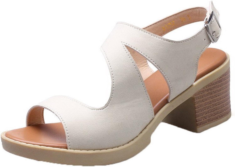 WeenFashion Women's Buckle Open-Toe Kitten-Heels PU Solid Sandals, AMGLX008810