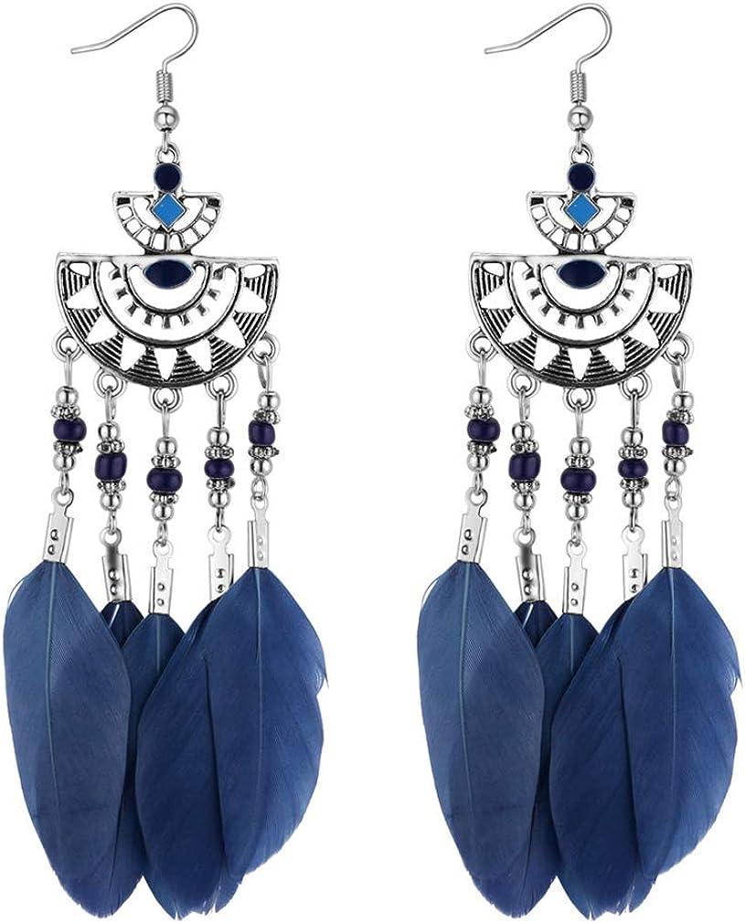 YAZILIND Bohemian Style Feather Earrings Long Tassel Drop Dangle Dream Catcher Earring Women Girls Valentine's day Gift Jewelry