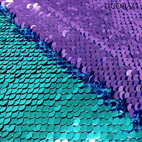 DUOBAO Sequin Fabric Reversible Sequin Fabric by The Yard Turquoise to Lavender Mermaid Sequin Fabric Sequince Material Sequin Fabric Backdrop for Pictures Teal