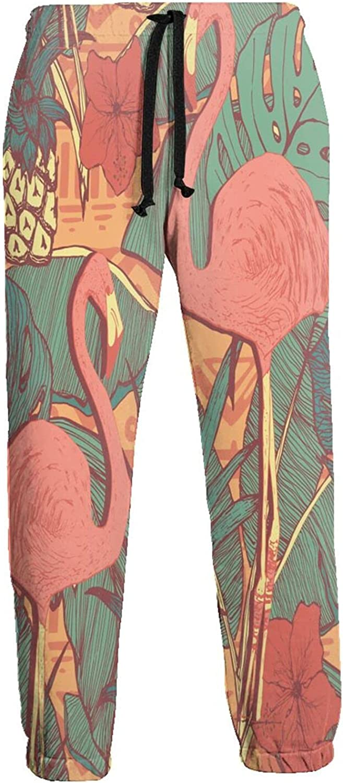 Feim-Ao Men's 3D Sweatpants Columbus Mall Flamingo Ranking TOP3 Monstera Tropical Flor Leaf
