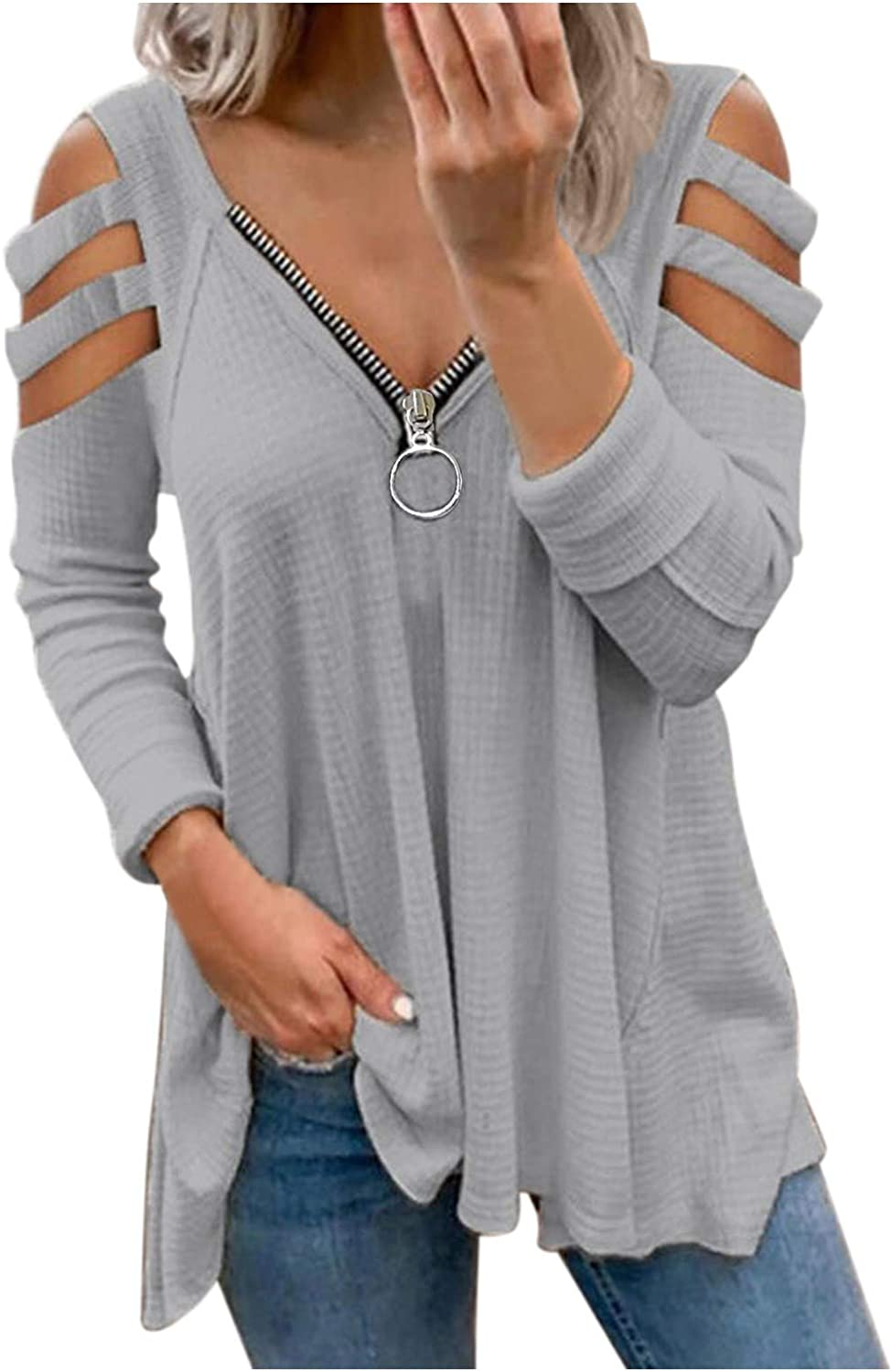 Women's Cold Shoulder Tops, V Neck Long Sleeve Casual Loose Fit T Shirts Comfy Blouses Tee with Zipper