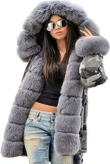 Aofur Womens Hooded Faux Fur Lined Warm Coats Parkas Anoraks Outwear Winter Long Jackets