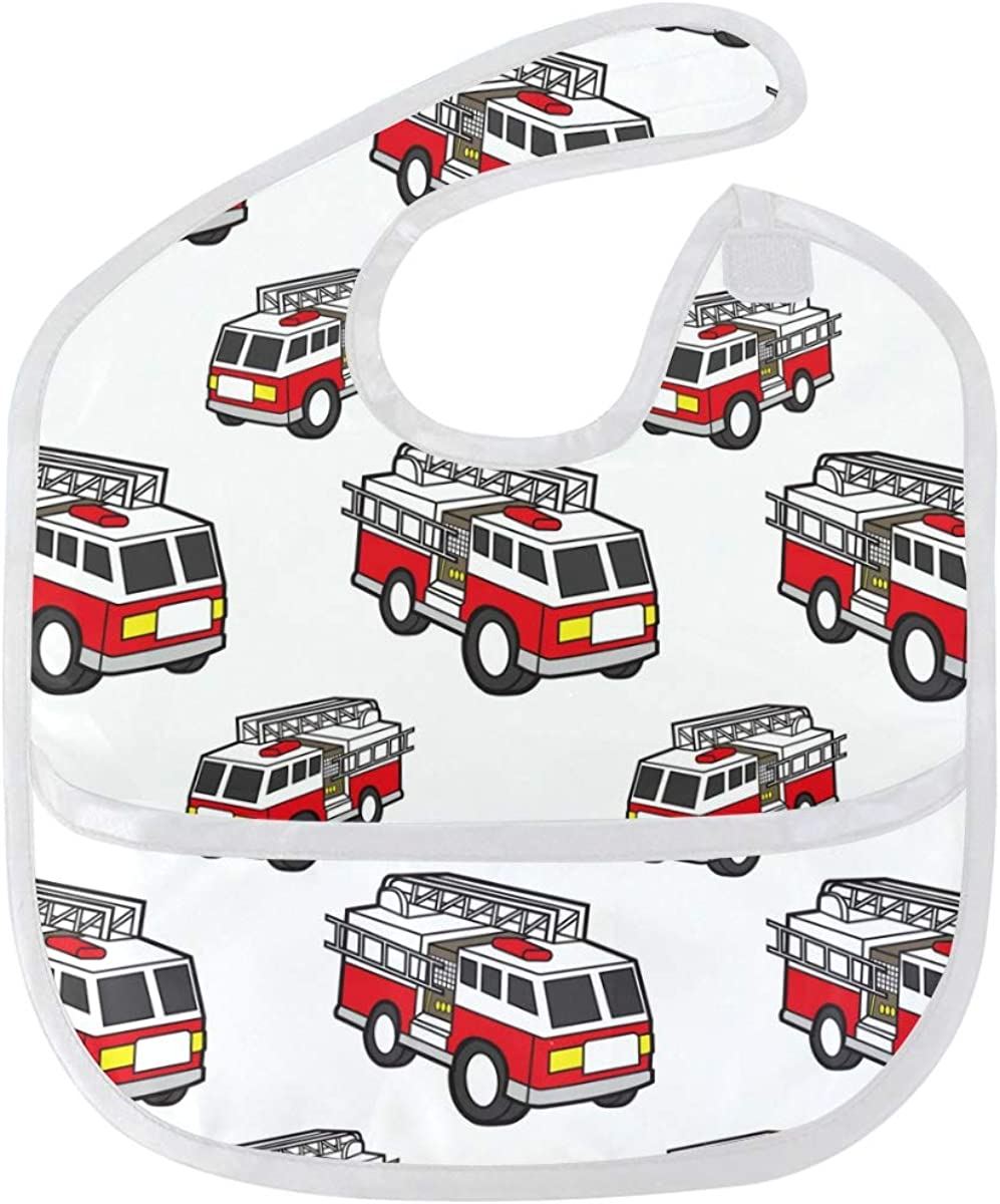 Fire Truck Baby Bibs Waterproof Resist and Stain Oklahoma City Mall Odor Washable SEAL limited product