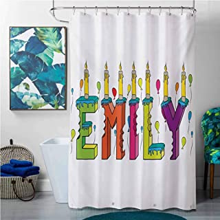Shower Curtains Fabric Beige Emily,Cartoon Doodle Birthday Cake with Cheerful Event Pattern Balloon Filled Background,Multicolor,W60 x L72 Halloween Shower Curtain Hooks