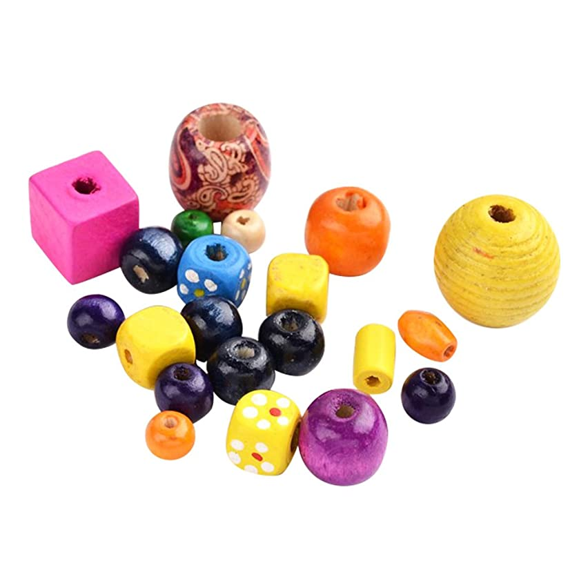 NBEADS 500g Spray Painted Opaque Wood Beads, Mixed Color, Dyed, Lead Free, Mixed Color, 4~45x4~45mm, Hole: 0.5~5mm; About 500pcs/500g