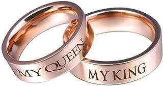 6MM Anillo de Pareja, Acero Inoxidable My King y My Queen Oro Rosa Boda Anillo Talla 9,5-27(Precio de una Pieza)