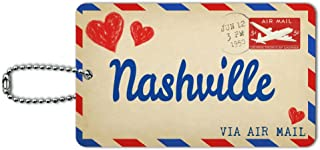 Air Mail Postcard Love for Nashville ID Tag Luggage Card Suitcase Carry-On