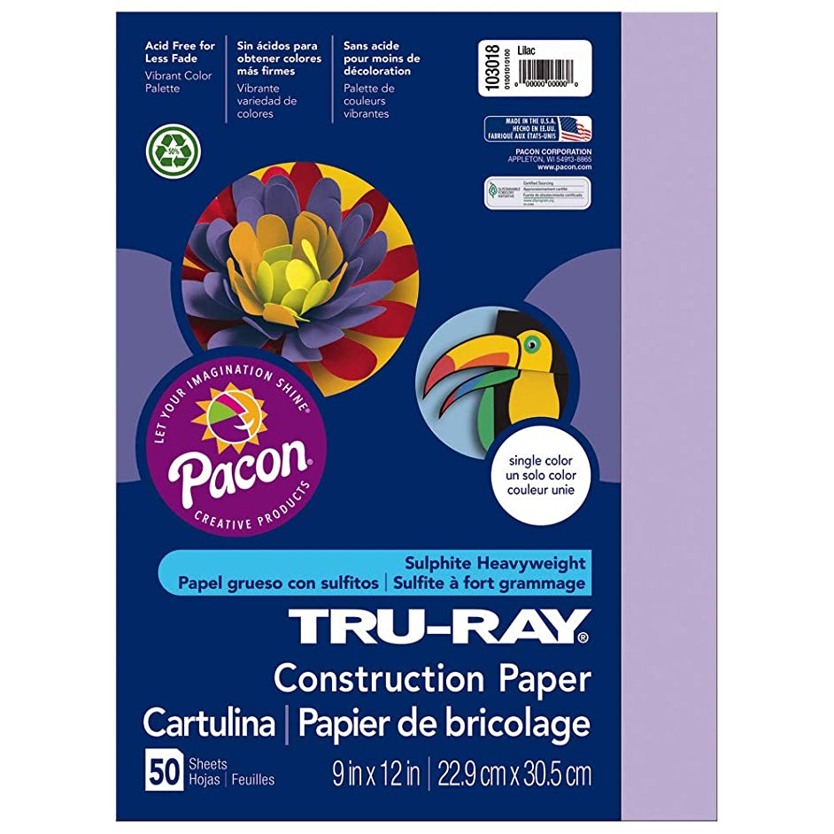 Tru-Ray Heavyweight Construction Paper, Lilac,  9
