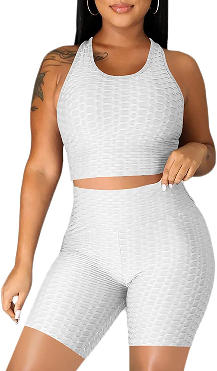 Lrady Womens Two Piece Workout Sets Racerback Crop Tank Tops Textured Ruched Butt Lifting Yoga Leggings Bodycon Tracksuits