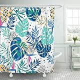 JOOCAR Design-Duschvorhang, grafische tropische Blätter, helles Muster, lebendig, modern, wasserdichter Stoff, Badezimmer-Dekor-Set mit Haken