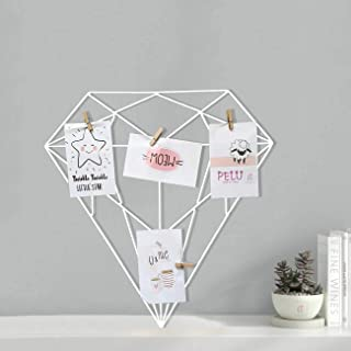 Art Street White Color Diamond Shape DIY Metal Photo Grid Wall for Photo Hanging, Wall Decoration and Display (Size- 42 x ...