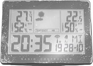 SovelyBoFan Enchufe de La UE Estación de Clima Inalámbrica Hidrómetro de Estación de Pronóstico de Clima Interior Al Aire Libre Termómetro Reloj Despertador con Sensor Al Aire Libre