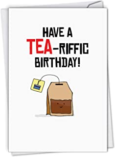 Birthday Puns Tea Drinker - Pun Birthday Greeting Card with Envelope (4.63 x 6.75 Inch) - Illustrated Happy Birthday Notecard for Wife, Husband - Congratulations Bday Stationery Gift C6119DBDG