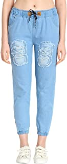 C.Cozami Blue Denim Jogger Pants for Women
