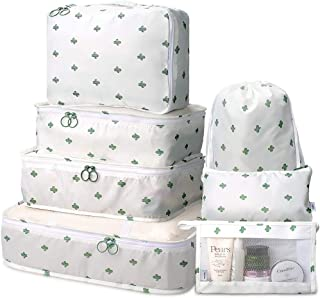 NANAO Packing Cubes 7 Pcs Travel Luggage Packing Organizers Set with Toiletry Bag (White cactus)