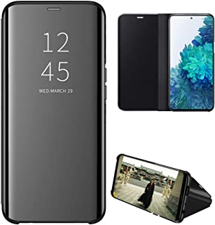 Galaxy S20 FE Case, EabHulie Mirror Plating Hard PC +PU Leather Semi-transparent Standing View Case Cover for Samsung Gala...