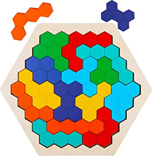 Wooden Hexagon Puzzles for Kids Adults, WOOD CITY Colorful Shape Block Jigsaw Puzzles, Fun Brain Teasers Montessori Educational Toys, Geometry Logic Tangram Puzzles Gift for Children