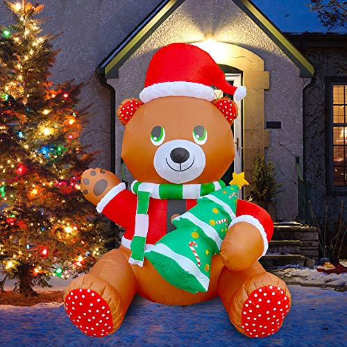 BLOWOUT FUN 6ft Inflatable Christmas Cute Teddy Bear Holding Tree LED Blow Up Lighted Decor Indoor Outdoor Holiday Art Decor Decorations