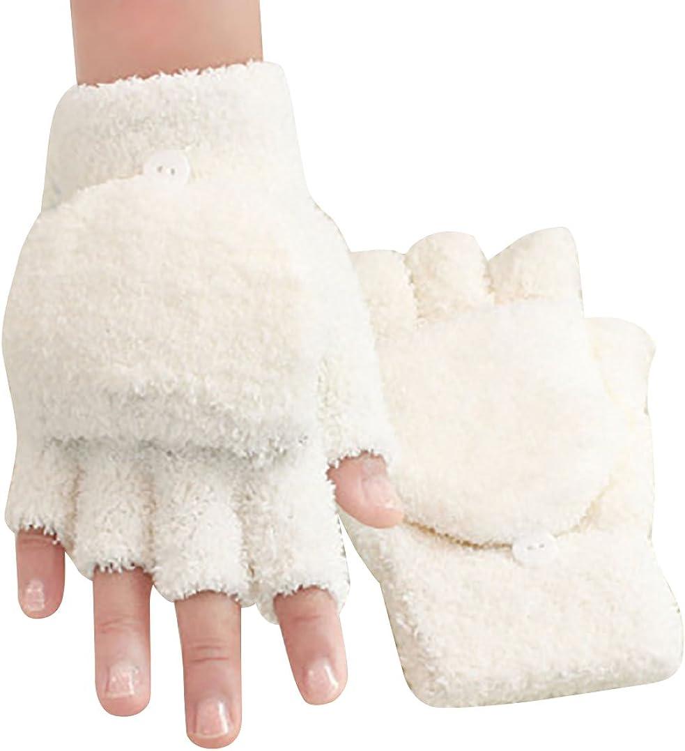 Gilroy Womens Girls Winter Warm Convertible Fingerless Gloves with Mitten Cover