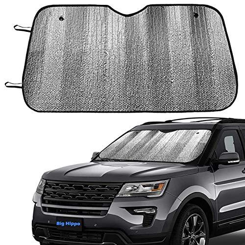 Big Hippo Front Car Sunshade Windshield-Jumbo/Standard Sun Shade Keeps Vehicle Cool-UV Ray Protector Sunshade-Easy to Use Sun Shade-Silver(55.16'X 27.5')