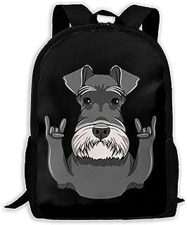 Schnauzer Dog Rock Gesture Fashion Travel Backpacks Durable Backpacks Laptop Backpack Shoulder Bags for Men/Women