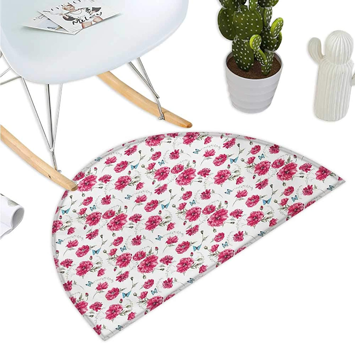 Butterfly Half Round Door mats Mothers Day Spring Themed Blossoming Nature Image Poppy Flowers Print Bathroom Mat H 35.4  xD 53.1  Pink Reseda Green bluee