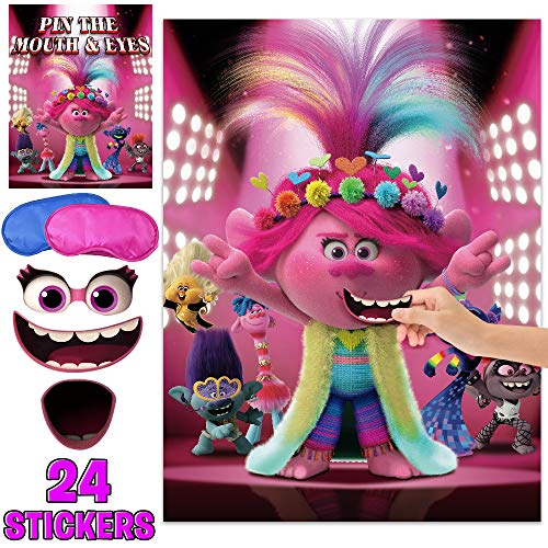 Trolls Party World Pin Game Pin The Eyes & Mouth On The Face – Cute Troll World Party Supplies Poster for Kids Girls Boys – Happy Birthday Funny Outdoor Indoor Activity Games (24 Stickers)