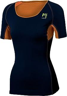 Karpos Sassongher 2021 - Maglietta a maniche corte da donna, motivo: Sky Captain/Arancione Fluo