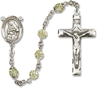 Bonyak Jewelry Our Lady of Providence Rosary in Sterling Silver with August Jonquil Swarovski Crystal Beads