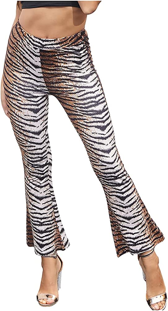 Lghxlxry Women's High Waist Leopard Print Stretch Flare Ankle Pants Casual Boot Cut Cropped Trousers
