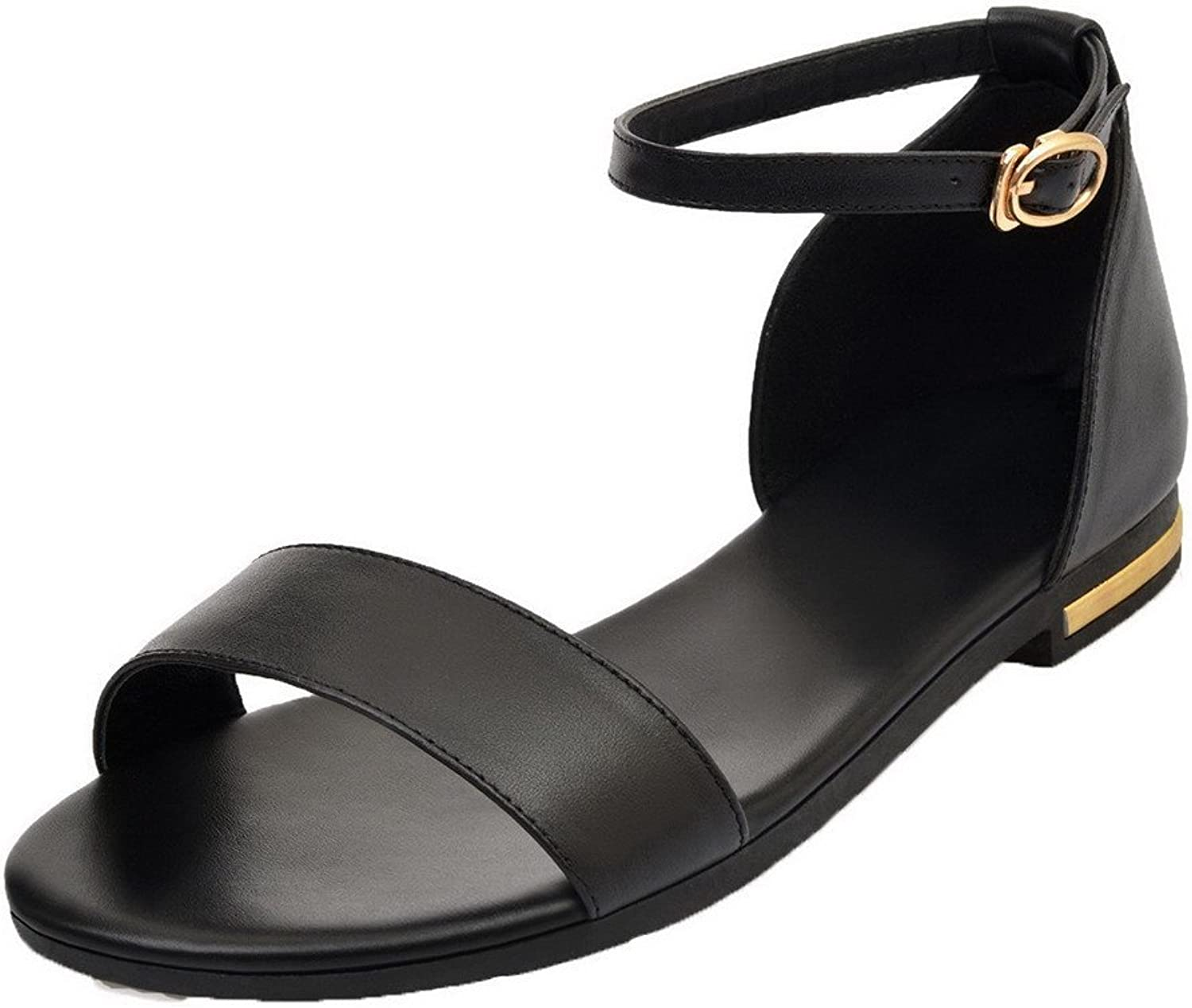 AmoonyFashion Women's Pu Buckle Open Toe Solid Sandals