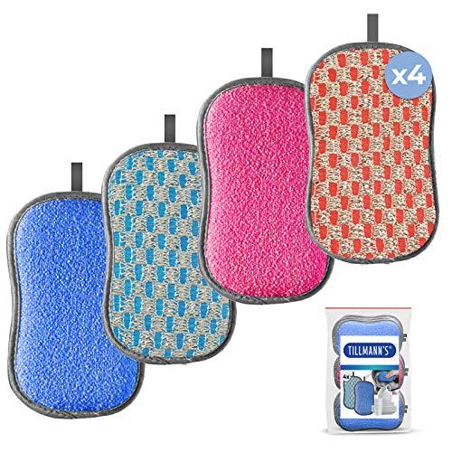 Eponge Lavable 4 Pcs   Eponge Vaisselle Ecologique Lavable   Antibacterienne en Microfibre