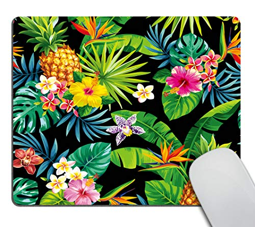Smooffly Hawaiian Pineapples Mouse Pad Custom,Tropical Palm Leaves and Flowers Mousepad Non-Slip Rubber Gaming Mouse Pad Rectangle Mouse Pads for Computers Laptop
