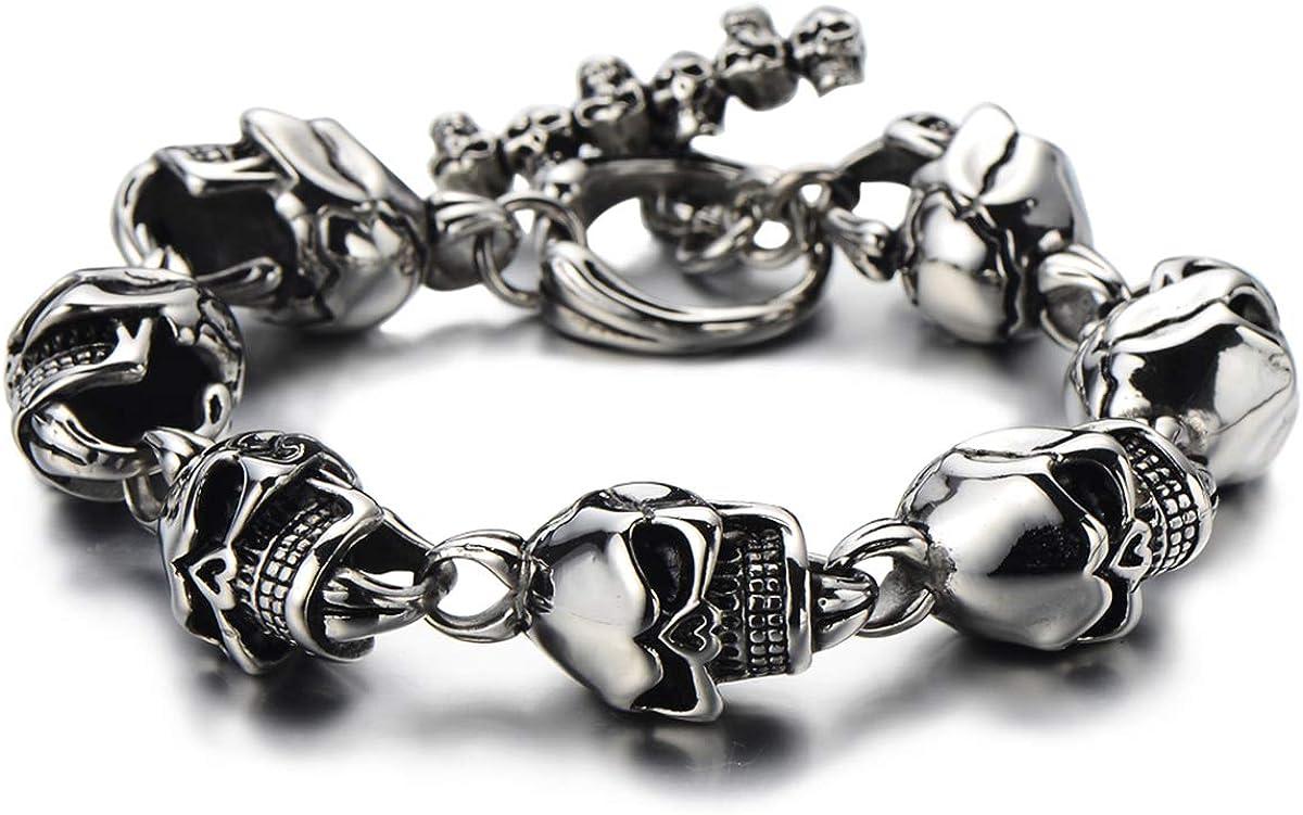 COOLSTEELANDBEYOND Gothic Biker Link of Finally [Alternative dealer] resale start Men Skulls for Bracelet