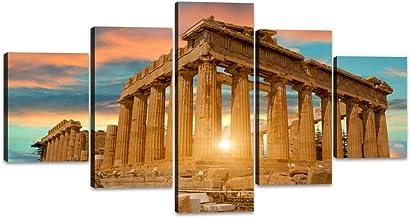 Parthenon Temple on the Acropolis of Athens Greece Artwork 5 Piece Canvas Modern Painting..