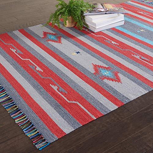 Marca de Amazon - Movian Burgas, alfombra rectangular, 213,4 de largo x 152,4 cm de ancho (diseño geométrico)