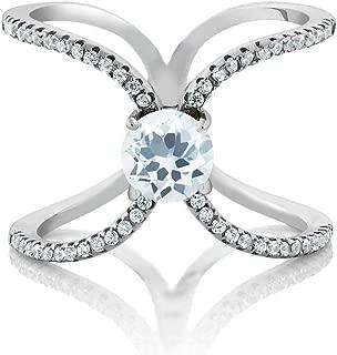 925 Sterling Silver Sky Blue Aquamarine Criss Cross