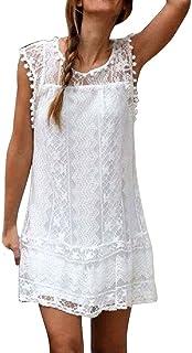 comprar comparacion Reooly Vestido Corto de Encaje sin Mangas de Playa Casual con Borla Mini Vestido
