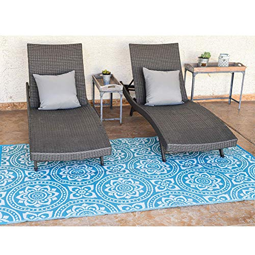 Reversible Mats Outdoor Patio Mat – Virgin Polypropylene - Easy to Clean – Perfect for Picnics, Cookouts, Camping, The Beach, and Patio (Boho Design) (5-Feet x 8-Feet, Turquoise/White)