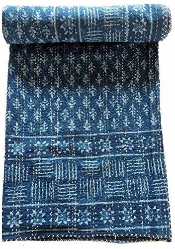 Sophia-Art Indian King Handmade Bohemian Hand Block Print Pure Cotton Bedspread Kantha Stitch Hippie Kantha Bed Spread Reversible Bedcover Throw Quilt (Blue Indigo)