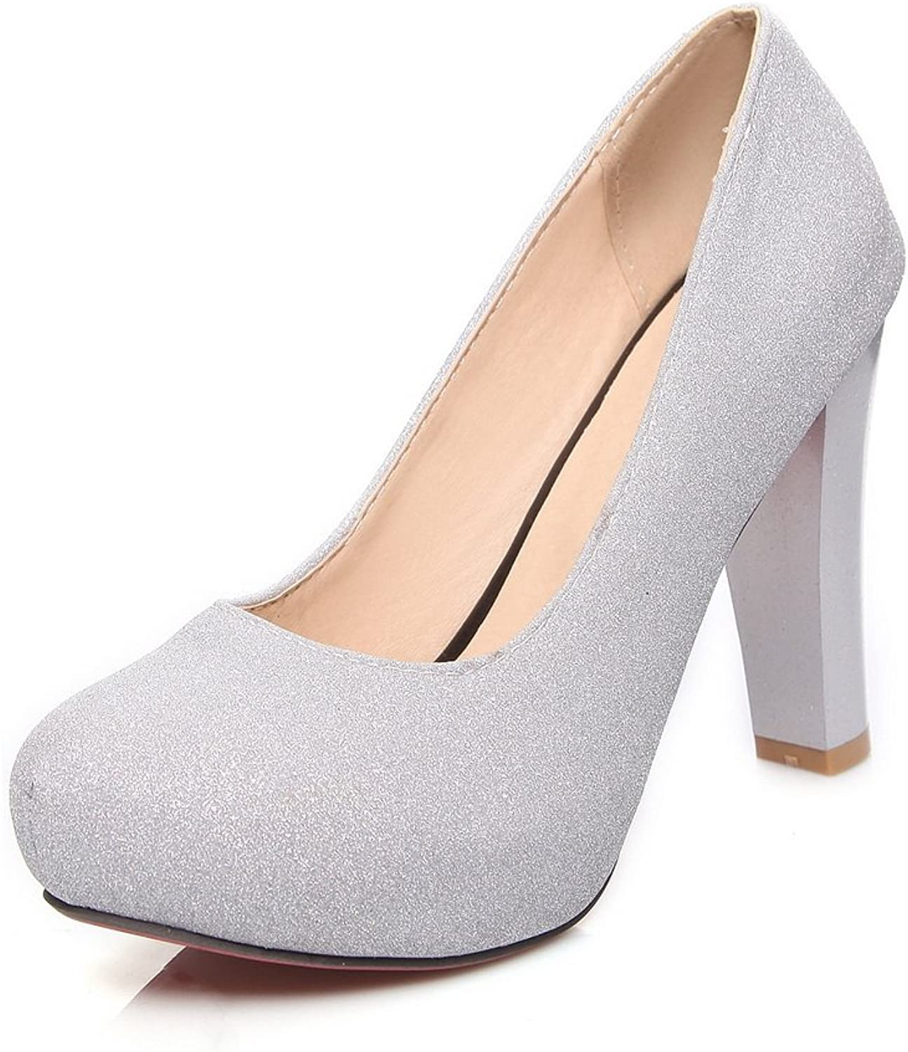 BalaMasa Girls Platform Low-Cut Uppers Sequin Imitated Leather Pumps-shoes