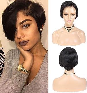 Short Pixie Cut Wigs Human Hair Short Straight Lace Front Wigs Pixie Cut 150% Density Natural Hairline Brazilian Virgin Hair Short Human Hair Wigs for Black Women