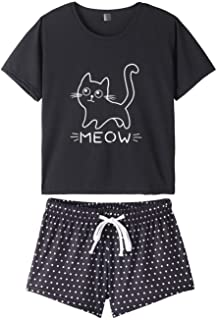 VENTELAN Pajamas for Women 2 Piece Cute Cat Sleepwear Pajama Sleep Set
