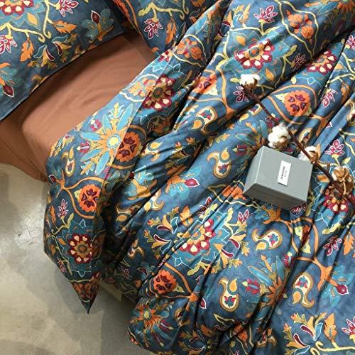Eikei Home Damask Medallion Luxury Duvet Quilt Cover Boho Paisley Print Bedding Set 400 Thread Count Egyptian Cotton Sateen Vibrant Bohemian Pattern (Queen, Spanish Tile)