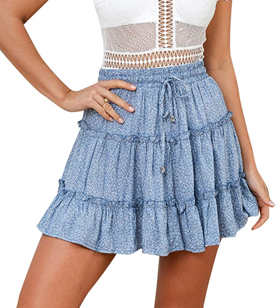 Womens A-Line Mini Dresses Summer Casual Bohe High Waist Lace-Up Ruffled Floral Print Beach Short Skirt (XL, Blue)