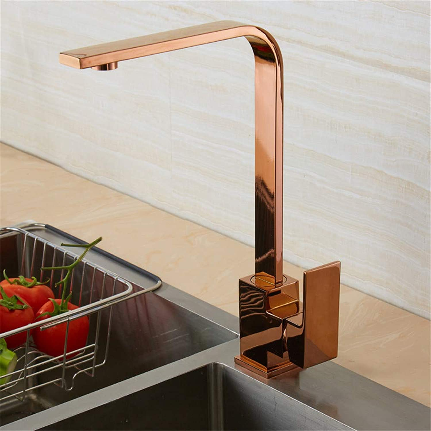 YAWEDA Retro Black Bathroom Basin Faucet Hot and Cold Water Mixer All Copper Simple Swivel Kitchen Sink Faucet with Aerator 7 Square Single Handle,pink gold