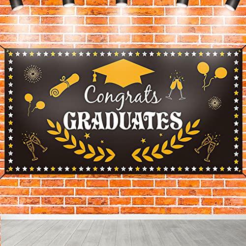 Qpout Fondo de banner de decoración de graduación 2021, accesorios de fondo de foto de graduación para la fiesta de graduación de estudiantes de secundaria universitaria de la clase 2021